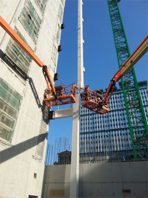 122 Waterloo Street, Glasgow - BHC Structural Steelwork - First column